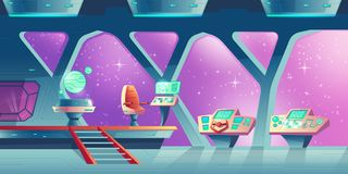 Vector background with interior of spaceship stock illustration