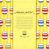 Vector background jars with jam in doodle style Stock Image