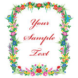 Vector background with Kalocsa embroidery. Vector background with Kalocsai embroidery. Colorful flowers on isolated background. Horizontal version royalty free illustration