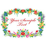 Vector background with Kalocsai embroidery. Colorful flowers on isolated background. Horizontal version Stock Image