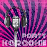 Vector background for karaoke party. Background with microphone and headphones for karaoke party Royalty Free Stock Images