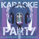 Vector background for karaoke party. Background with microphone and headphones for karaoke party Royalty Free Stock Photo
