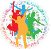 Vector background of kids jumping Royalty Free Stock Images