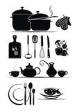 Vector background - kitchen utensils Stock Photos