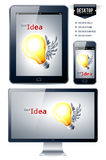 Vector background. Lamp with wings. Royalty Free Stock Photo