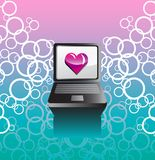 Vector background with a laptop and a heart Royalty Free Stock Images
