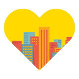 Vector background: a large city in the heart Stock Photo