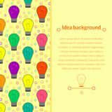 Vector background with light bulb in flat style Stock Photos