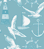 Vector background with lighthouse, boat, seagulls, ancor and ste Stock Photos
