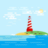 Vector background with lighthouse, sea, waves in a daytime. Royalty Free Stock Photo