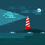 Vector background with lighthouse, sea, waves an night. Royalty Free Stock Photography