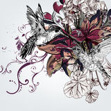 Vector background with lily flowers and birds in engraved style Royalty Free Stock Images