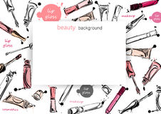 Vector background with lip gloss Royalty Free Stock Photo