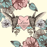 Vector background with magnolia flowers and bird in engraved sty Royalty Free Stock Images