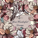Vector background with magnolia flowers and bird in engraved sty Royalty Free Stock Photos