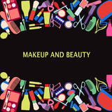 Vector background of MakeUp and beauty cosmetic Symbols. Stock Photography