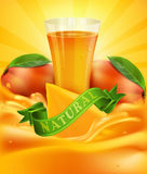 Vector background with mango, a glass of juice, slices of mango Royalty Free Stock Photography