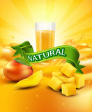 Vector background with mango, a glass of juice, slices of mango Stock Photos