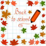 Vector background with maple leaves, words Back to school and pencils Royalty Free Stock Photo