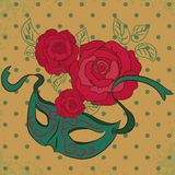 Vector background with mask and roses Royalty Free Stock Photos
