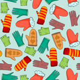 Vector background mittens and gloves. Vector seamless background with mittens and gloves Stock Image
