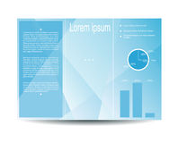 Vector background. Vector modern tri-fold brochure design template with light blue polygonal background. Design for your content. Can be used as flyer, cover Stock Images