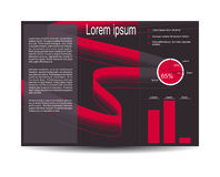 Vector background. Vector modern tri-fold brochure design template with red ribbon background. Design for your content. Can be used as flyer, cover, business Stock Image