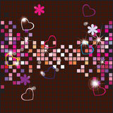 Vector background from a mosaic and hearts Royalty Free Stock Photos