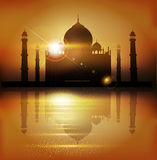Vector background with mosques and minarets to the holiday Mubar Stock Image