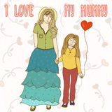 Vector background with mother and daughter. Cartoon card. Backdr Royalty Free Stock Image