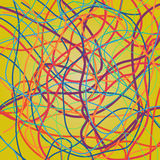 Vector background with moving colorful lines. Bright curves lines. With a lot of colors on yellow background stock illustration