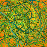Vector background with moving colorful lines. Yellow background of green curves lines Royalty Free Stock Photo