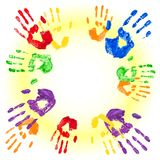 Vector background with multicolored handprints Stock Photo