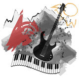 Vector background-music instruments background abstract natural landscape Stock Images