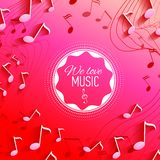 Vector background with music notes and key Royalty Free Stock Photos