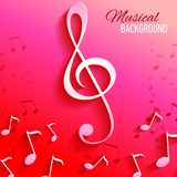 Vector background with music notes and key Royalty Free Stock Image