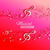Vector background with music notes and key Stock Photography