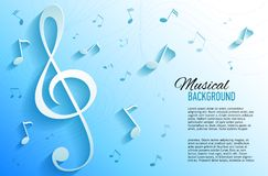 Vector background with music notes and key Royalty Free Stock Photo