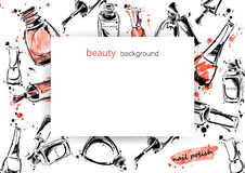 Vector background with nail polish. Vector abstract banner with nail polish. Beauty and fashion. Watercolor Royalty Free Stock Photos