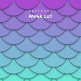 Vector background with neon lilac and turquoise color paper cut stock illustration