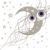 Vector background with the new moon and the stars Royalty Free Stock Photos