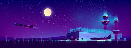 Vector night airport in ultraviolet colors, background vector illustration