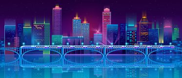 Vector background with night city in neon lights vector illustration