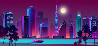 Vector night city on river with boat royalty free illustration