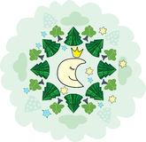 Vector background with night forest, sleeping smiling moon and star. Childish card Stock Photo