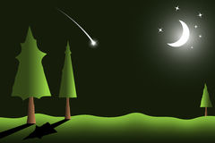 Vector background of night landscape. Night scene with falling star, moon and stars on sky Stock Images