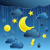 Vector Background with night weather icon Royalty Free Stock Photo