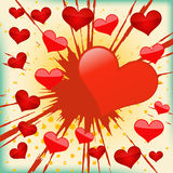 Vector Background Of Explosion Heart. Royalty Free Stock Photo