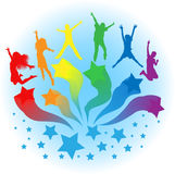 Vector Background Of Kids Jumping Stock Photo