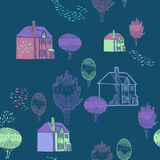 Vector background with old town. Seamless pattern. Cute trees and houses. Color ornamental texture with country landscape details Royalty Free Stock Image